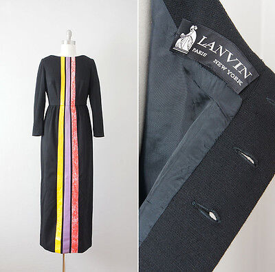 *Reserved* Vintage Late 1970s Early 1980s Lanvin Black Wool Stripe Front Dress