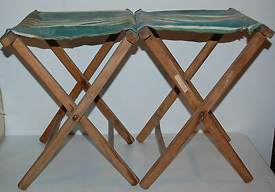 PAIR Vintage 30s 40s 50s Folding Wood and Canvas Camp Chair Stools
