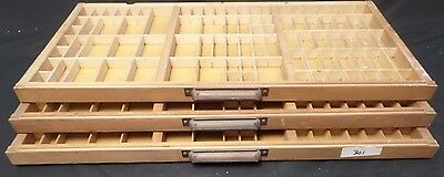 Vtg Wooden Typeset Printing Block Letter Press Shadow Box Drawer Tray - Lot of 3
