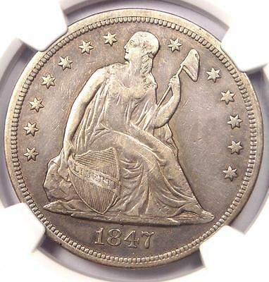 1847 Seated Liberty Silver Dollar $1 - NGC VF Details - Rare Certified Coin!