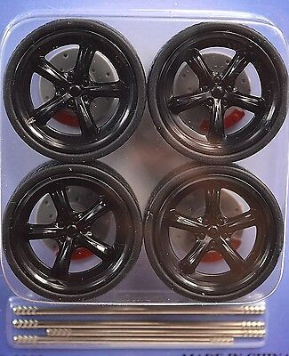 Low Profile Black 4 Wheel Set 1:18 Brake Discs Lopro 2002 5 Solid Spoke Sqrflg