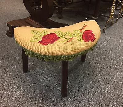 Vintage Needle Point Foot Stool Red Roses