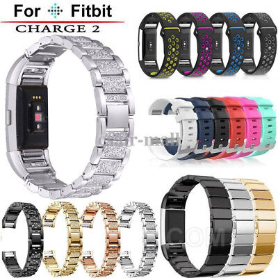 Sport Silicone /Stainless Steel Watch Strap Wrist Band Replace Fr Fitbit Charge2