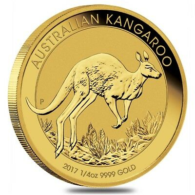 2017 1/4 oz Australian Gold Kangaroo Perth Mint Coin .9999 Fine BU In Cap