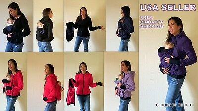 Kangaroo Jacket Baby Carrier Maternity Warm Coat Polar Fleece Hoodie Outwear