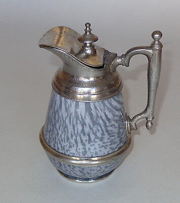 RARE Pewter Trimmed American Gray Graniteware Syrup