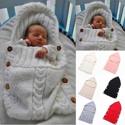 Baby Infant Hooded Swaddle Wrap Warm Wool Knitted Swaddling Blanket Sleeping Bag