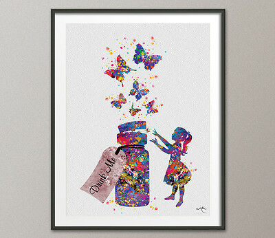 Alice in Wonderland Drink Me Watercolor Art Print Nursery Decor Decor Wall Art