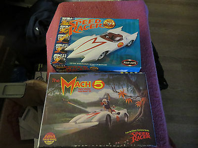 2- Polar Lights Speed Racer Mach V 1/25 Scale Model Kit #6700,plus Horizon Kit