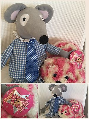 """Large Bagpuss Cat & �� 14"""" Charlie Mouse Soft Toys"""