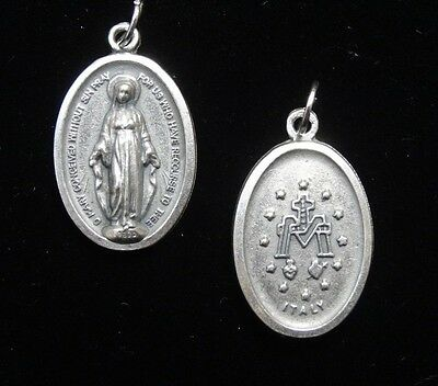 2pcs Our Lady of the Miraculous Medal Pendant Medal Silver Tone 05029
