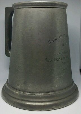 """1938 Over Size Pewter Tankard Horse Racing Trophy """"Nagrakata Races"""" Won By """"Blue"""