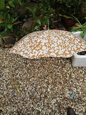 A Lovely Vintage 1950's French Umbrella with a Gold Metal Handle