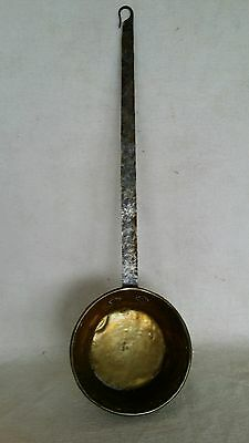 """Antique Brass & Hand Wrought Iron 23"""" Long Dipper Ladle Hearthware 6"""" Bowl Hang"""