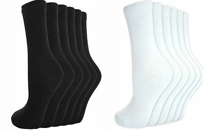 12 Pairs Men`s Women Ladies Girls Ankle Socks Cotton Plain BLACK / WHITE Socks