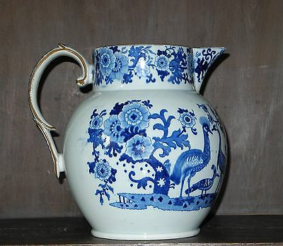 75Pearlware blue and white transfer printed jug C1815 Yorkshire?