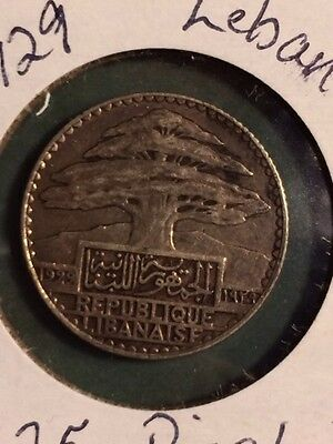1929 Lebanon 25 Piastres Coin! Very Rare And Hard To Find! XF Condition