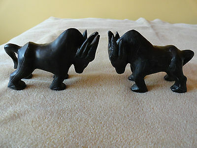 VINTAGE WATER BUFFALO BOOK ENDS CARVED BLACK MINERAL, STONE?? 1970s