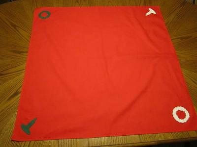 """Red Duckcloth Table Topper with Felt Christmas Appliques 36"""" Square"""