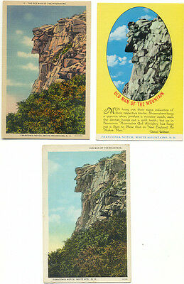 Old Man Of The Mountain NH Lot of 3 Postcards  - New Hampshire