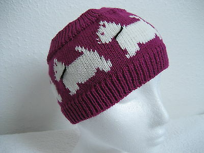 West Highland White Terrier(Westie) Cerise Knitted Headband Adult Size