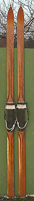 "Beautiful Antique Wooden SKIS ""Hickory"" TIPS RARE!"