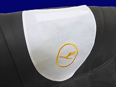 1x NEU Lufthansa Kopfschoner First Class Business ORIGINAL Schonbezug GOLDLOGO