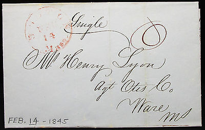 US Boston Red Stamp Feb-14 1845 Stampless Folded Letter - Vorphila Brief (L-202