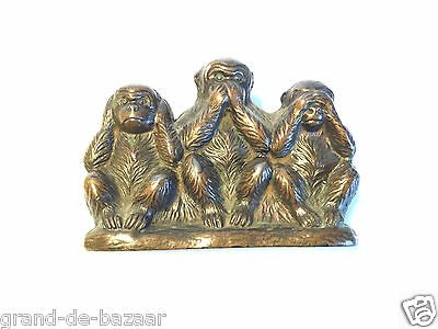 Vintage Wise Monkeys that hear no, see no and speak no evil - bronze Figure