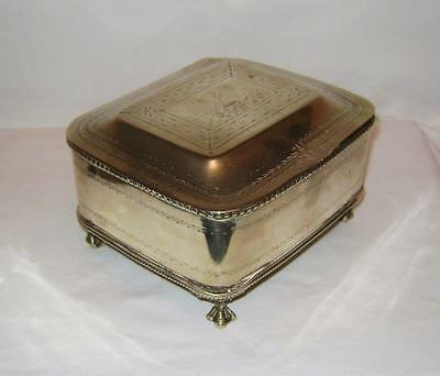 Rectangular Silver Plated Box on Paw Feet Hinged Lid Engraved Harbour Scene A/F