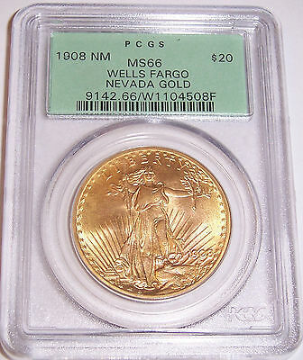 1908 NM $20 St Gaudens PCGS MS 66 OGH Wells Fargo Philadelphia Gold Double Eagle