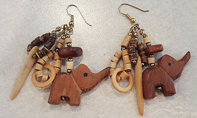 Vintage Jewelry Pierced Earrings Wood Carved Elephant & Wood Bead Large