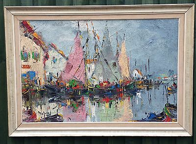 Large Abstract Framed George Deakins Painting On Canvas Signed Dated