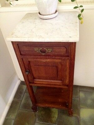 Cute! Antique French Oak Marble Cabinet Cupboard Side Table Hall Bedside