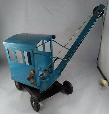 Vintage Early Triang /lines Bros Mobile Metal Crane In Scarce Blue