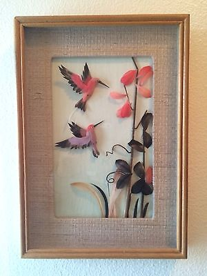 Wood Framed, Matted 3 Dimensional Made Of Feathers, Hummingbirds