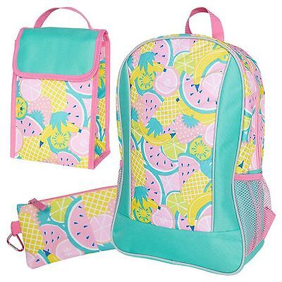 NEW Tropical Fruit Print Backpack - 3 Piece Kids
