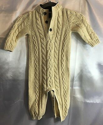 GAP Baby Boy 12-18 Months Cream Cable Knit One-Piece Sweater Romper