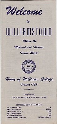 1950's Williamston Guide And Map Brochure