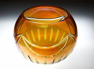 Honey Amber Yellow Hand-Crafted Crystal Rose Petal/potpourri/candy/nut Bowl