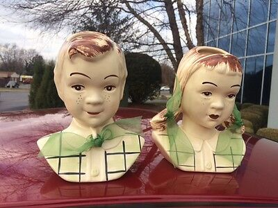 Jean and Sandy Head Vases 1950's Green Plaid Shirts