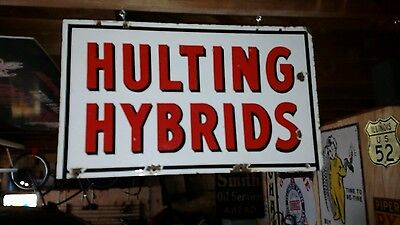 Hulting Hybrids Double Sided Porcelain Farm Seed Sign Gas