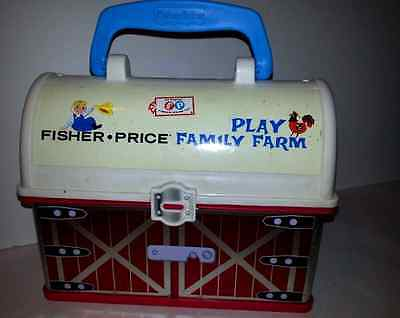 Fisher Price Vintage Red Farm Mini Lunchbox Toy Box Carrying Case Great shape