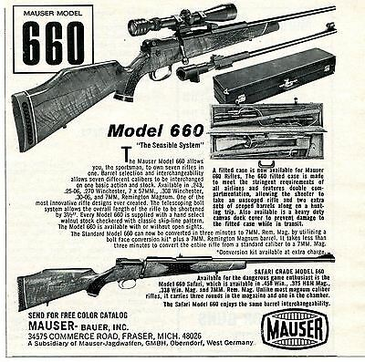 1973 small Print Ad of Mauser Bauer Model 660 Rifle the sensible system
