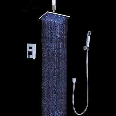 12u0027u0027 LED Ceiling Mount Rain Shower System With The Shower Head U0026 Hand Shower