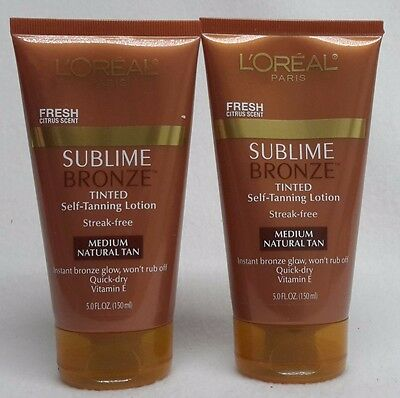 2 L'OREAL Paris Sublime Bronze Tinted Self-Tanning Lotion Medium Natural Tan