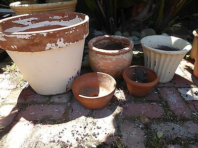 Garden Pots X 5, 1 Large Terracotta & 2 Smaller Ones  1 Painted