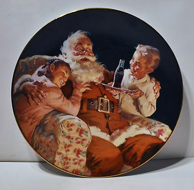 """Coca Cola """" A Toast for Santa """" Plate by 1995 Franklin Mint"""
