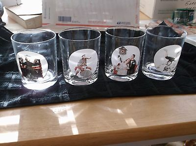 Set Of 4 Norman Rockwell Tumblers Cocktail Glasses Saturday Evening Post