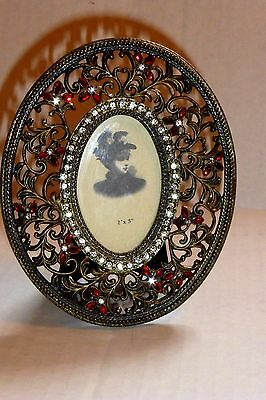 Victorian Inspired Brass Filigree Frame W/ Sparkling Clear Crystals & Red Stones